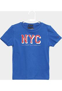 296bc1c09 Camiseta Infantil Tommy Hilfiger Estampada Masculina - Masculino-Azul