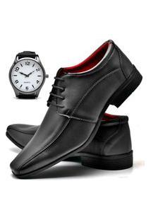 Sapato Social Masculino Asgard Com Relógio New Db 804Lbm Preto