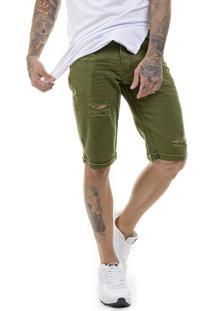 Bermuda Offert Jeans Premium Masculina Slim Fit Verde