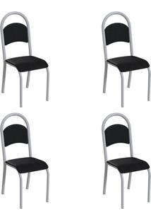 Conjunto Com 4 Cadeiras Wodon Preto E Branco