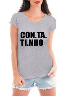 Camiseta Criativa Urbana Contatinho Feminina - Feminino-Cinza