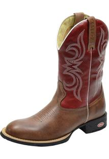 Bota Texana Country Atron Shoes Bico Redondo Vermelha -1824