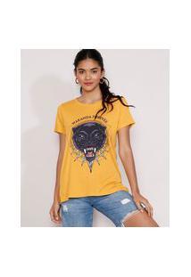 Camiseta Feminina Manga Curta Pantera Negra Metalizada Decote Redondo Mostarda