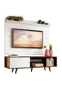 Rack Madesa Dubai E Painel Para Tv Até 65 Polegadas Com Pés Rustic/Branco 6E9B Cor:Rustic/Branco