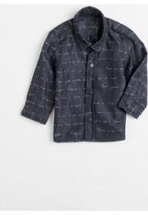 Camisa Bb Ml Jacquard Carta Pf Reserva Mini Masculina - Masculino-Preto