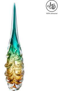 Escultura Texturizada- Verde Água & Âmbar- 60Xø15Cm