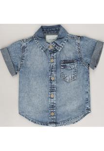 Camisa Jeans Infantil Com Bolso Manga Curta Azul Médio