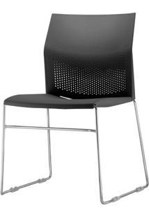 Cadeira Connect Assento Preto Base Fixa Cromada - 53767 - Sun House