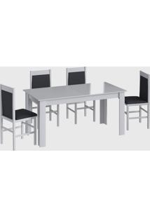 Conjunto Mesa Elast. 8 Cadeiras Branco Móveis Canção