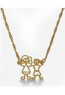 Gargantilha Horus Import Familia Feliz Mãe 1 Menino Banhada Ouro Amarelo 18K