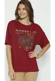 Camiseta Com Correntes- Bordã´ & Marrom- Colccicolcci