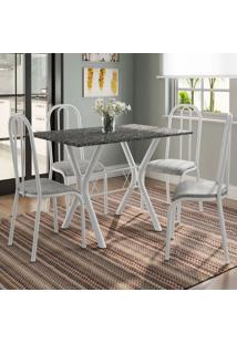 Conjunto De Mesa Miame 110 Cm Com 4 Cadeiras Madri Branco E Vegetale
