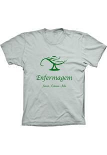 Camiseta Baby Look Lu Geek Enfermagem Prata