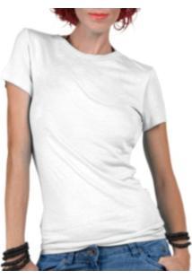 Camiseta Criativa Urbana Lisa Básica - Feminino-Branco