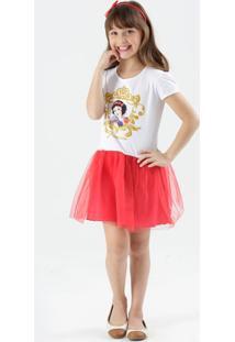 Vestido Infantil Branca De Neve Tiara Disney