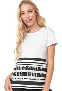 Camiseta Planet Girls Estampada Branco/Preto
