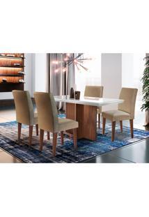 Conjunto De Mesa De Jantar Berlim Off White Com 4 Cadeiras Grécia Linho Turim E Café