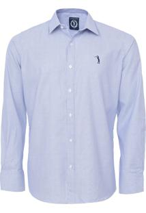 Camisa Aleatory Slim Quadriculada Azul