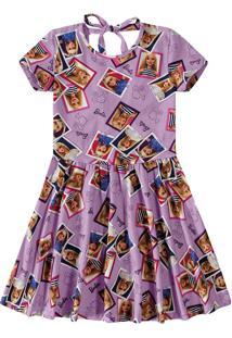 Vestido Evasê Barbie® Decote Costas Menina Malwee Kids