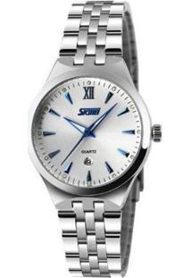 Relógio Skmei Analógico Feminino - Feminino-Branco+Prata