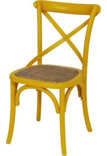 Cadeira Katrina Amarela Laqueada Com Assento Rattan - 30750 - Sun House