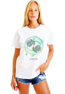 Camiseta Joss Feminina Estampada Signo Cancer - Feminino-Branco