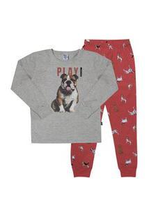 Pijama Meia Malha - 46580-567 - (4 A 10 Anos) Pijama Mescla Cinza - Infantil Menino Meia Malha Ref:46580-567-4