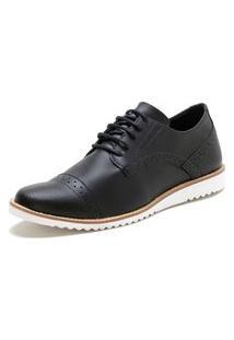 Sapato Oxford Form'S Modelo Esporte Fino Preto