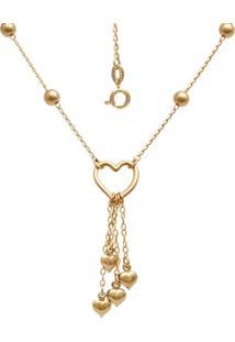 Gargantilha Prata Mil Bolinhas Com Corações Dourado - Tricae