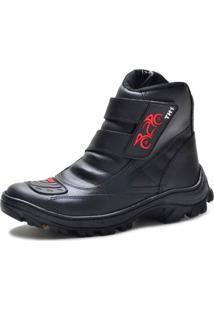 Bota Motoqueiro Cano Curto Em Couro Mine Shoes Preta