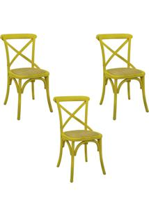Kit 3 Cadeiras Decorativas Sala De Jantar Cozinha Danna Rattan Natural Amarela - Gran Belo - Amarelo - Dafiti