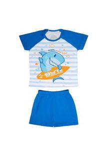 Pijama Short Infantil Masculino 10 - Tubarao Byte