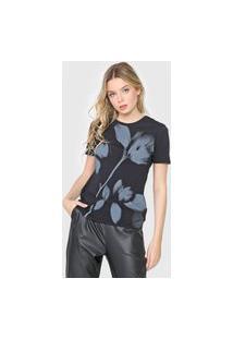 Camiseta Calvin Klein Jeans Flor Preta