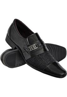 Sapato Social Euro Flex Com Texturas Solado Borracha Leve Masculino - Masculino-Preto+Prata