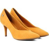 41256cde9c Scarpin Couro Bottero Salto Médio Decote V Nobuck - Feminino-Amarelo