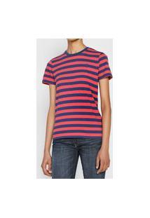 Camiseta Polo Ralph Lauren Listrada Vermelha/Azul-Marinho