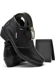 Bota Social Couro + Carteira + Cinto Valesconi Calçados Masculina - Masculino-Preto