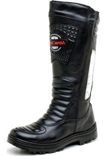 Bota Atron Shoes Motociclista Preta Atr