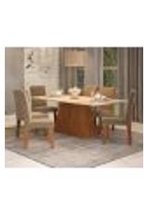 Conjunto De Mesa De Jantar Com 6 Cadeiras Estofadas Bianca Suede Off White E Joli