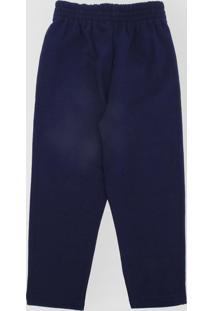 Calça De Moletom Tricae Infantil Lisa Azul-Marinho