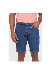 Bermuda Jeans Hering Reta Pespontos Azul