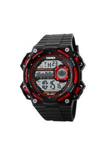 Relógio Digital Skmei -1115- Preto E Vermelho