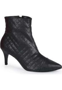 Ankle Boots Feminina Lara Matelassê Bico Fino Pret