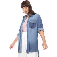 abeac7bef1 Camisa Jeans Triton Recortes Azul