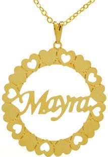 Gargantilha Horus Import Pingente Manuscrito Mayra Banho Ouro Amarelo
