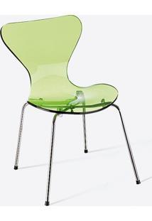 Cadeira Jacobsen Acrílico - Cromada Amarelo Acrílico