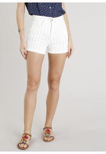 Short De Sarja Feminino Hot Pants Risca De Giz Off White