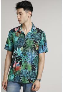 Camisa Masculina Estampada Tropical Manga Curta Preta