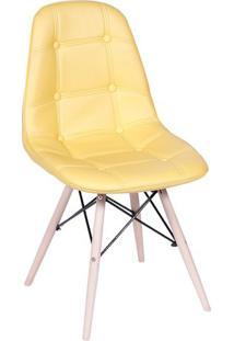 Cadeira Eames Botonê- Amarela & Bege Claro- 83X44X39Or Design