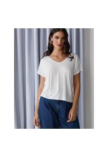 Amaro Feminino T-Shirt Básica Viscose Decote V, Off-White